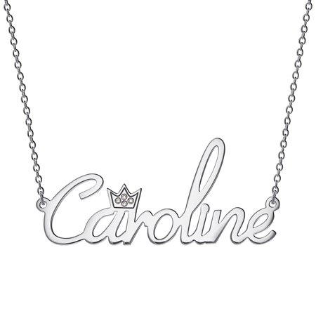 Sterling Silver Name Necklace - Personalized Women's Sterling Silver or Gold over Silver Name with Clear Crown Necklace