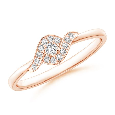 April Birthstone Ring - Round Halo Diamond Bypass Swirl Promise Ring in 14K Rose Gold (2.1mm Diamond) - SR1593D-RG-HSI2-2.1-6.5