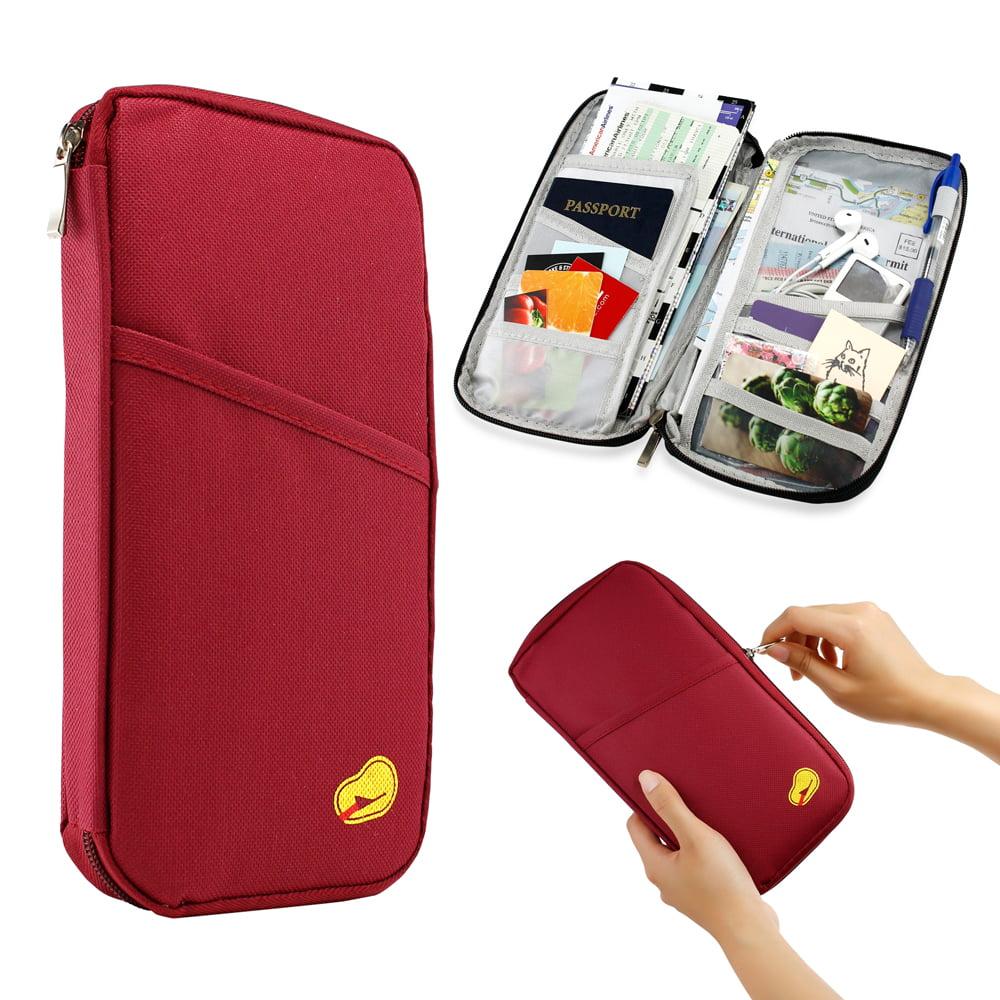 Travel Trip Passport Credit ID Card Cash Organizer Wallet Purse Holder Case Document Bag - Wine Red