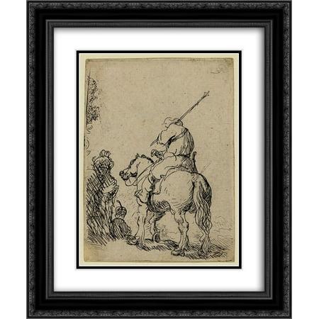 Rembrandt 2x Matted 20x24 Black Ornate Framed Art Print 'Turbaned soldier on horseback'