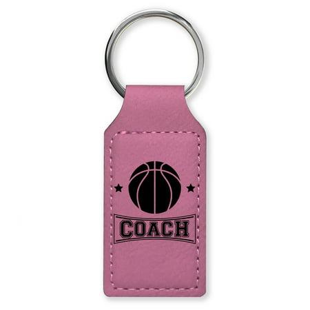 Keychain - Basketball Coach (Pink Rectangle) (Ball Keychains)