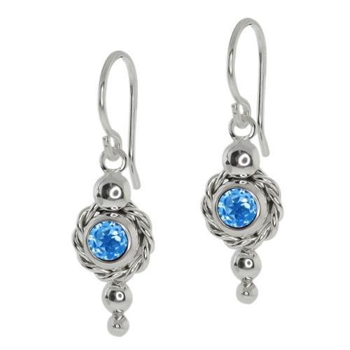 1.00 Ct Round Swiss Blue Topaz 925 Sterling Silver Earrings