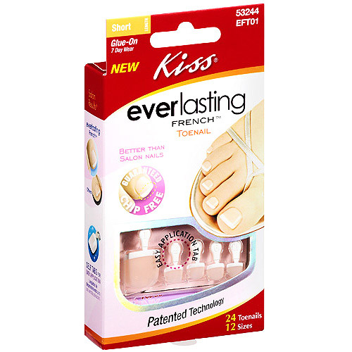 Kiss Everlasting French Toenail Real Short Length, 24 Ct