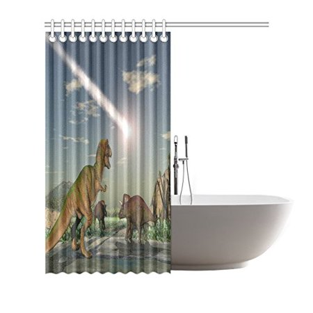 POP Asteroid Ancient Dinosaurs Prints Shower Curtain for Bathroom Sets 66x72 inch - image 2 of 3