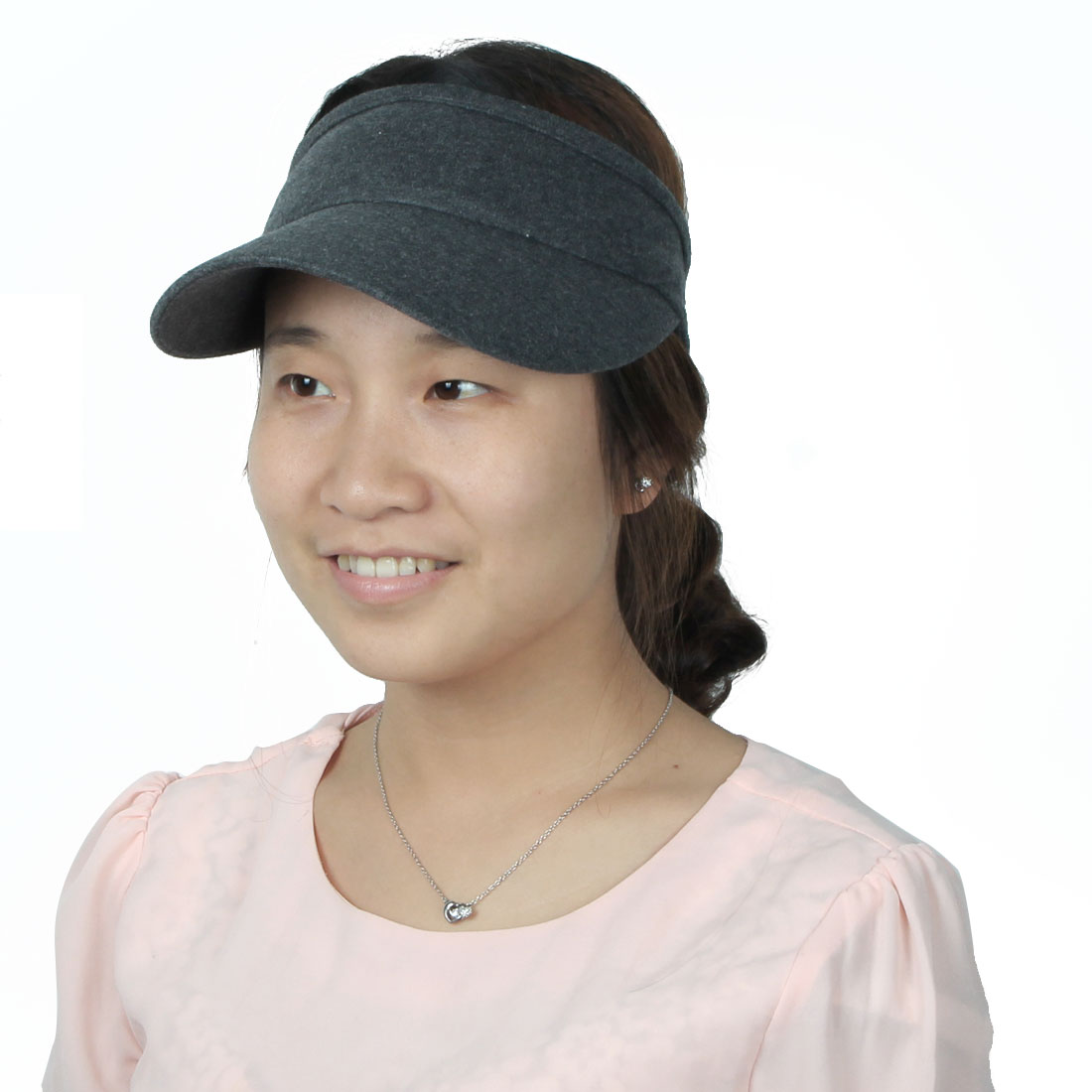Ladies Summer Outdoor Running Golf Tennis Sports Casual Sun Visor Cap Dark Gray