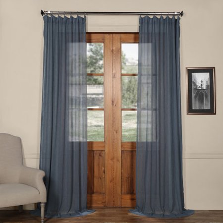 Tahoe Blue Solid Faux Linen 50 X 120 Inch Sheer Curtain