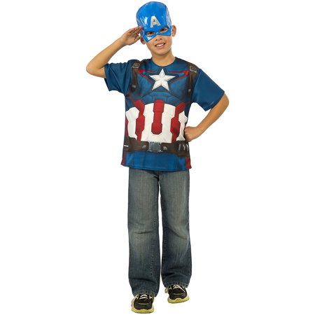 Costume Avengers 2 Age of Ultron Child's Captain America T-Shirt and Mask, Large, Discontinued Chest Shield 12Inch Co 2In1 Funko Rubies Gloves Muscle TShirt.., By Rubie's - Captain America Mask And Shield