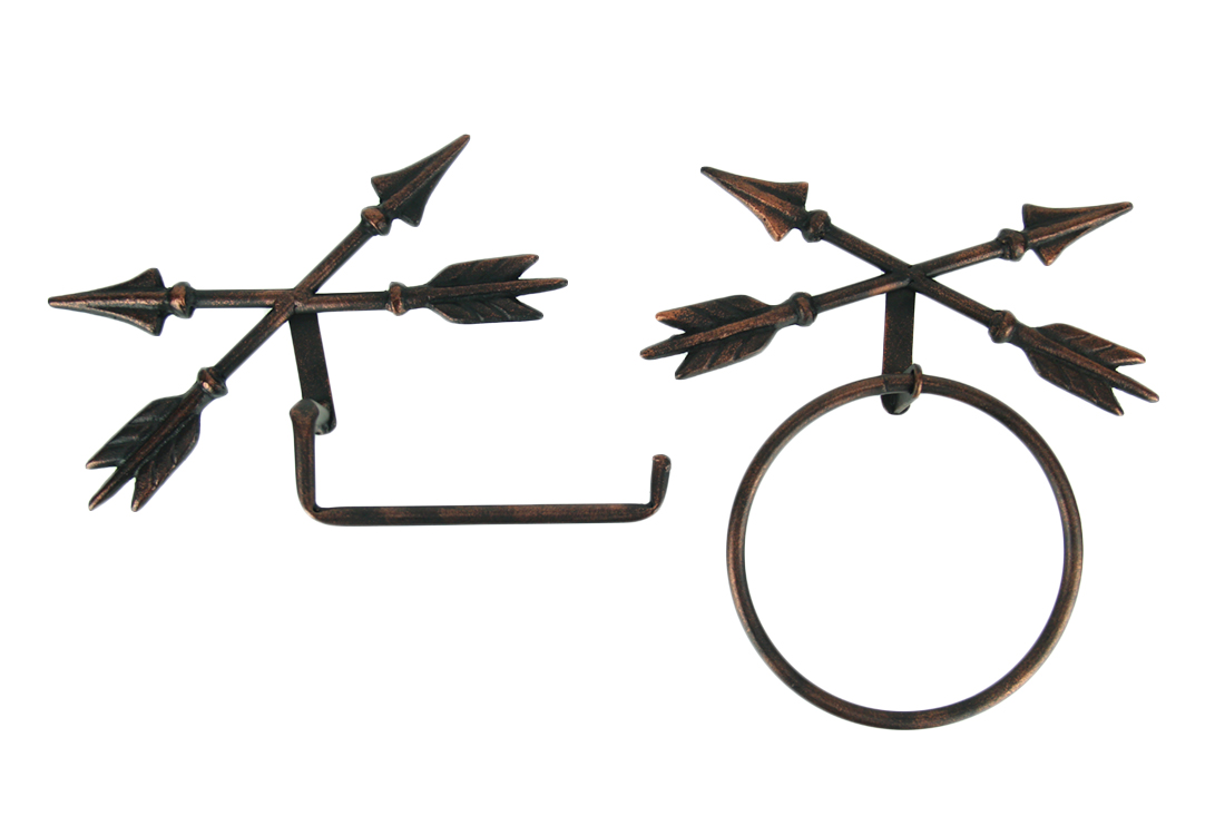 Antique Copper Crossed Arrows Hanging Toilet Paper Holder and Towel Ring Set by De Leon Collections