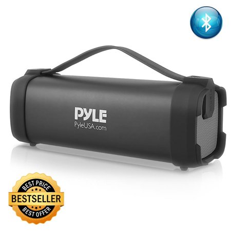 Pyle Wireless Portable Bluetooth Speaker 100 Watt Power Rugged Compact Audio Sound Box Stereo System with Built-in Rechargeable Battery, 3.5mm AUX Input Jack, FM Radio, MP3 and USB Reader