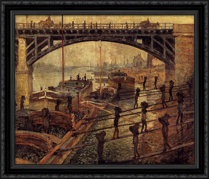 Coal Dockers 32x28 Large Black Ornate Wood Framed Canvas Art by Claude Monet by FrameToWall