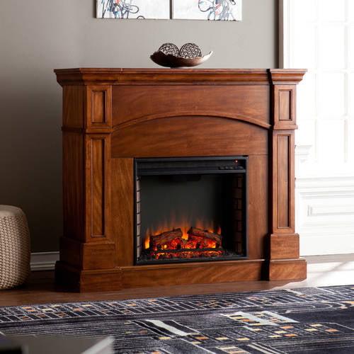 Corinth Corner Electric Fireplace Oak Saddle Walmart Com