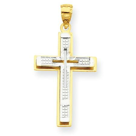 10k Yellow Gold w/Rhodium D/C Cross Pendant LAL72018
