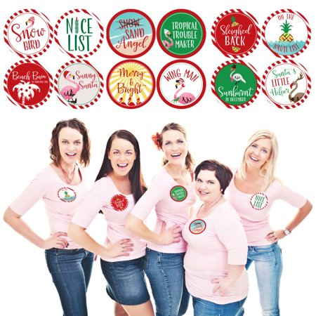 Flamingle Bells - Tropical Flamingo Christmas Party Funny Name Tags - Party Badges Sticker Set of 12](Christmas Party Names)