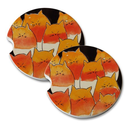 KuzmarK Sandstone Car Drink Coaster (set of 2) - Candy Corn Kitties on Black Abstract Cat Art by Denise Every - Candy Corn Art