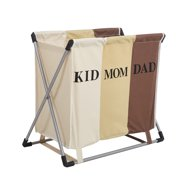KARMAS PRODUCT Double Laundry Hamper Bag with Iron X-Frame 2 Section Folding Clothes Laundry Basket for Bathroom Bedroom Home College Use, Lights and Darks
