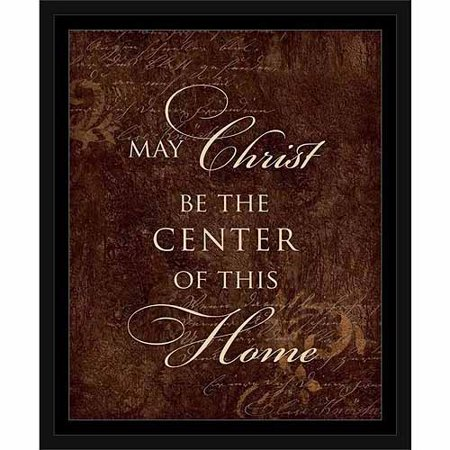 Christ Center Of This Home Distressed Traditional Pattern Religious Typography Brown & Tan, Framed Canvas Art by Pied Piper Creative
