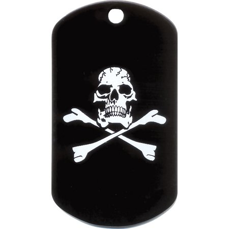 Black - Military GI Style Dog Tag with Jolly Roger Emblem Dog Tag Style Fan Tags
