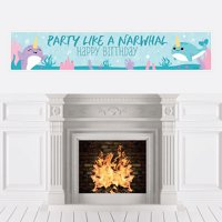 Narwhal Girl - Under The Sea Birthday Party Decorations Party Banner