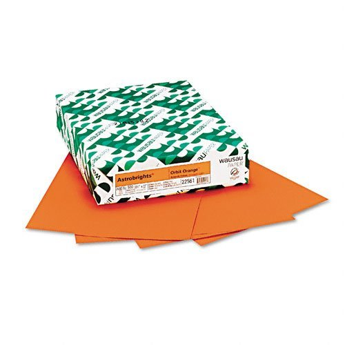 Wausau Paper - Astrobrights Colored Card Stock, 65lb, Orbit Orange, Letter, 250 Sheets - Pack of 10