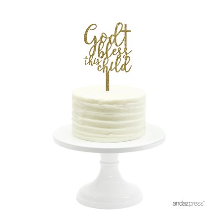 Bless This Child Gold Glitter Baptism Acrylic Cake