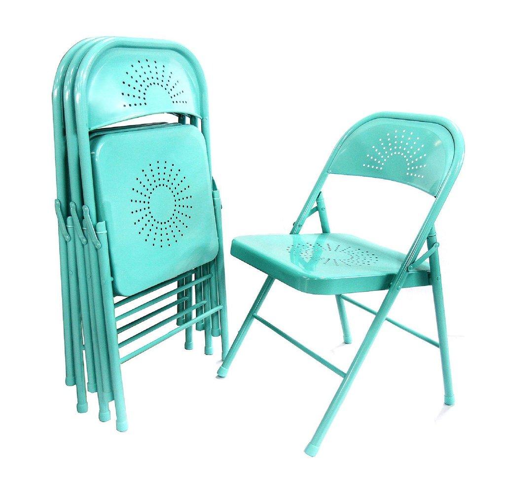 Shin Crest Decorative Metal Folding Chair, Teal Color U2013 4 Pack