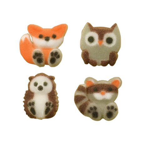 Forest Friends Woodland Animals Sugar Decorations Toppers Cupcake Cake Cookies Birthday Favors Party 12 Count