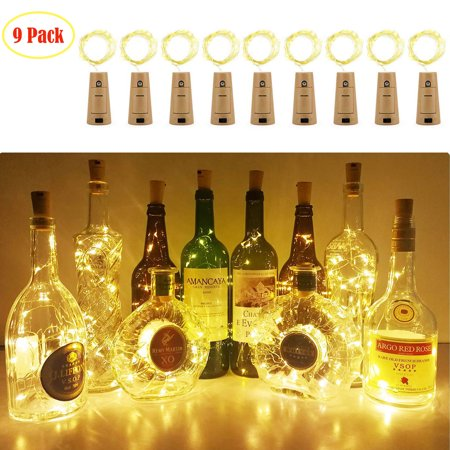 EEEKit LED Night Lights, 9-Pack Cork Shaped 20LED Starry Wine Bottle Lighting Lamp for Christmas Party Home Garden Wedding Outdoor Indoor Decoration
