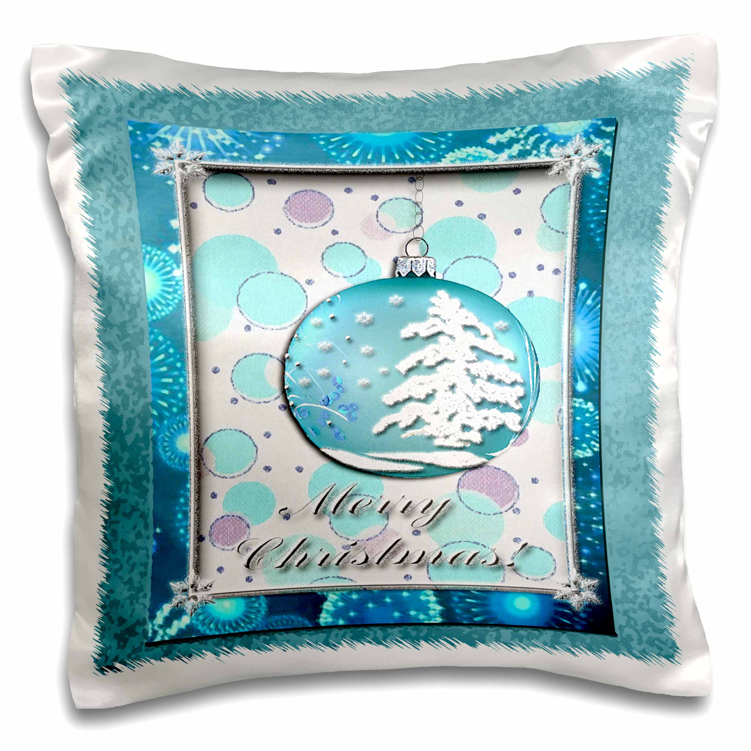 3dRose Aqua Snow Tree Ornament Merry Christmas, Pillow Case, 16 by 16-inch