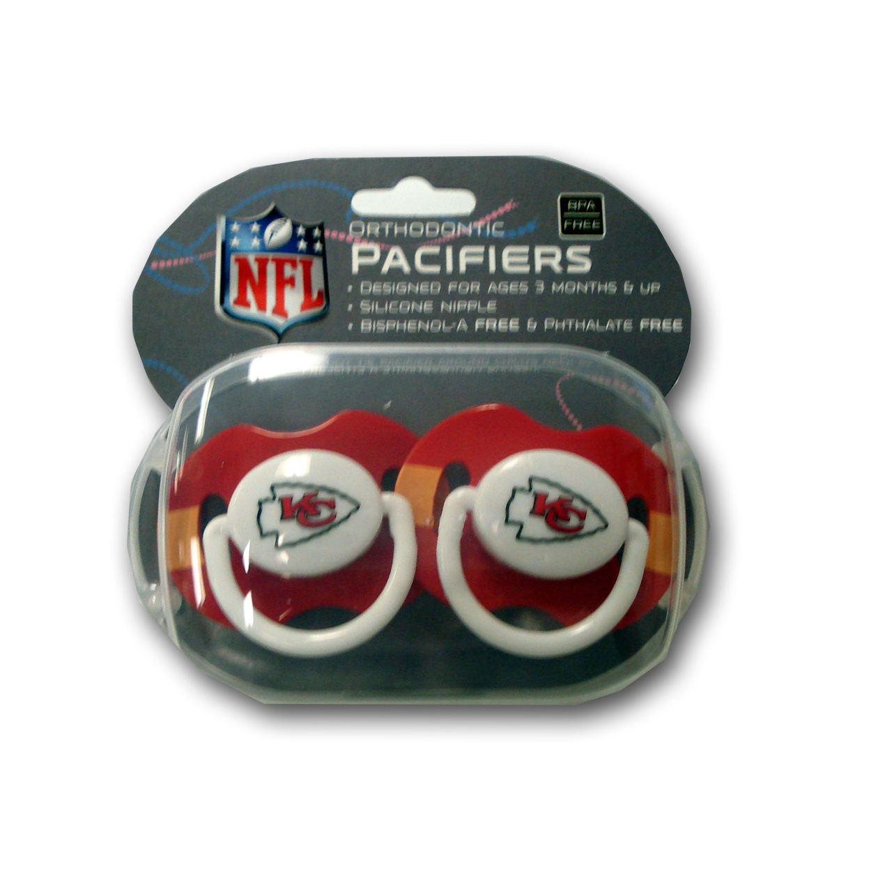 Baby Fanatic 2 pack Pacifiers  -  Kansa City Chiefs