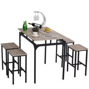 HomCom 5-Piece Modern Kitchen Table and 4 Stools Dining Set with Footrest, Metal Legs