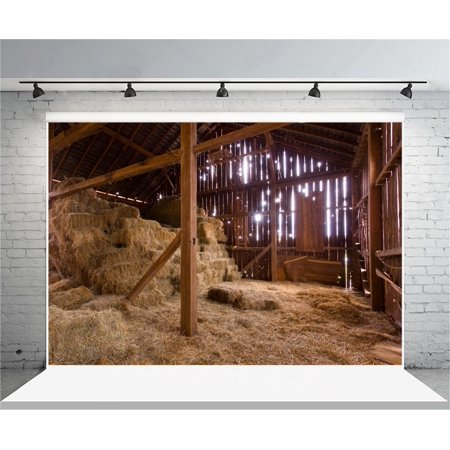 HelloDecor Polyster 7x5ft Farm Backdrop Bales of Hay Photography Background Newborn Baby Birth Infant Artistic Portrait Barn Rustic Photo Shoot Studio Props Video Drop Drape - Halloween Photo Shoot Ideas For Infants