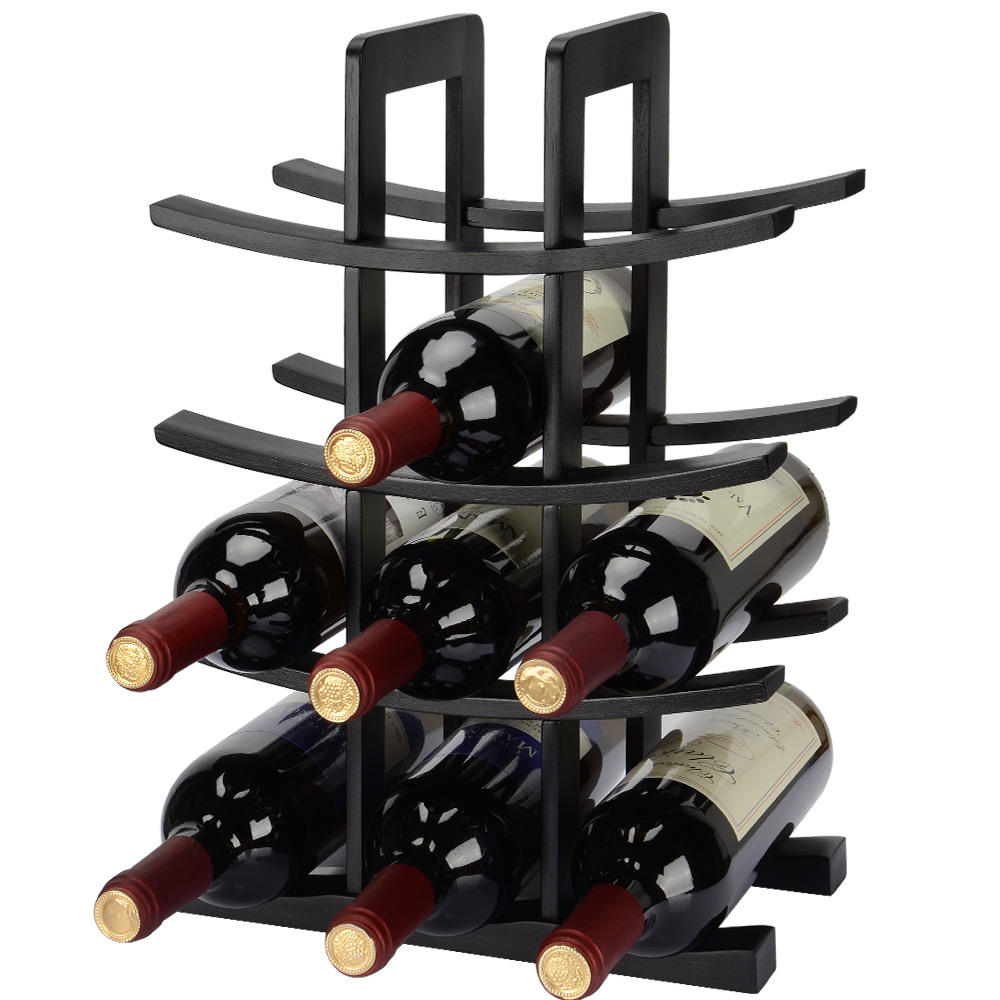 Wine Rack Storage Organizer 12 Bottle Dark Espresso Bamboo