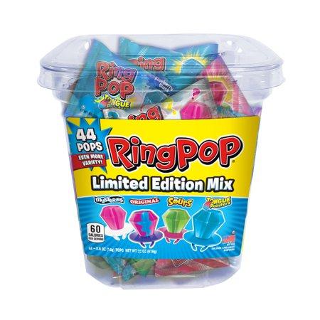Ring Pop, Assorted Flavors Lollipops Tub, 0.5 Oz, 44 Ct