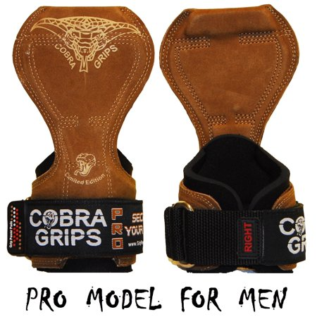 Cobra Grips PRO Brown Leather For MEN Best Weight Lifting Versa Gloves Heavy Duty Straps For - Pro Grip Leather Gloves