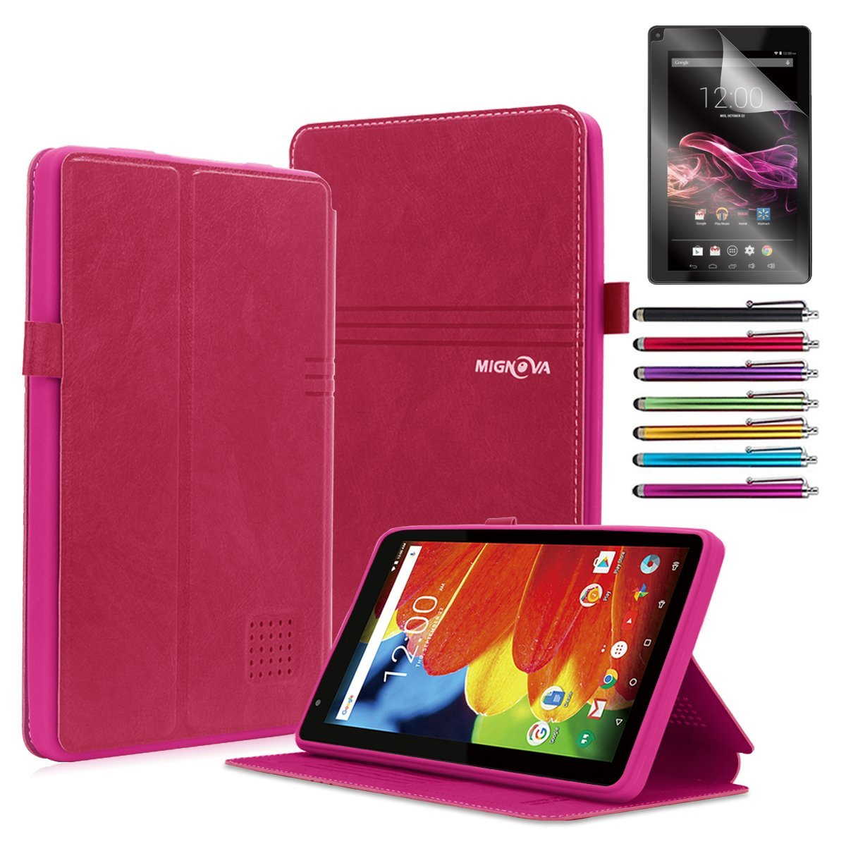 """Mignova RCA Voyager 7 Case, Folio leather case for RCA Voyager 7"""" 16GB / 8 GB Tablet Android 6.0 (Marshmallow) + Stylus pen(Black)"""