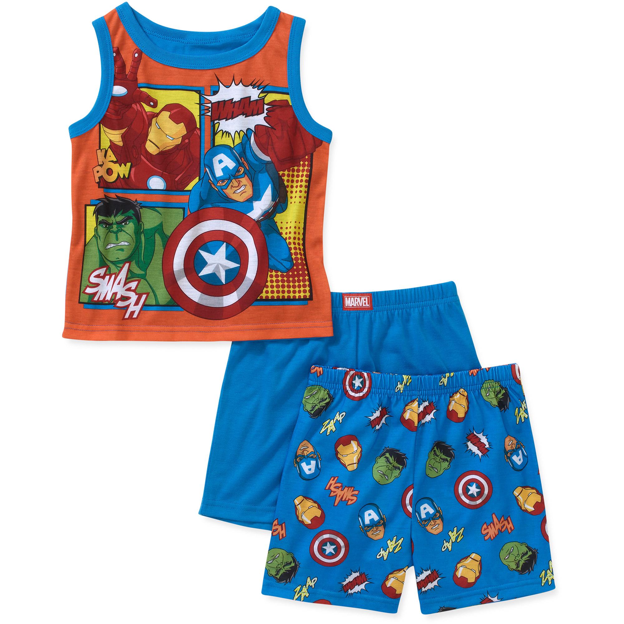 Marvel Baby Boys' Avengers 3 Piece Tank and Short Pajama Set