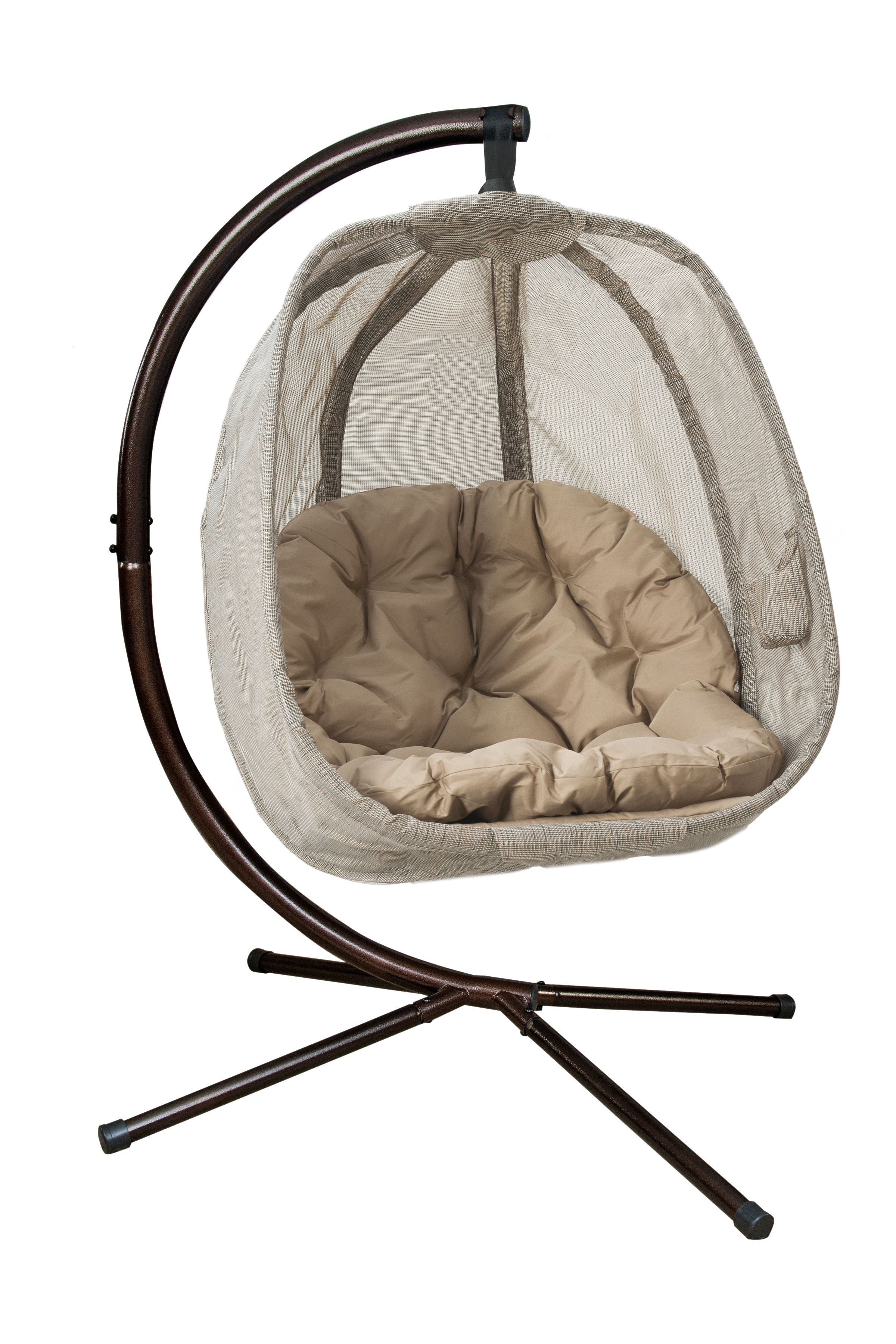 Hanging Egg Chair with Stand - Bark - FlowerHouse