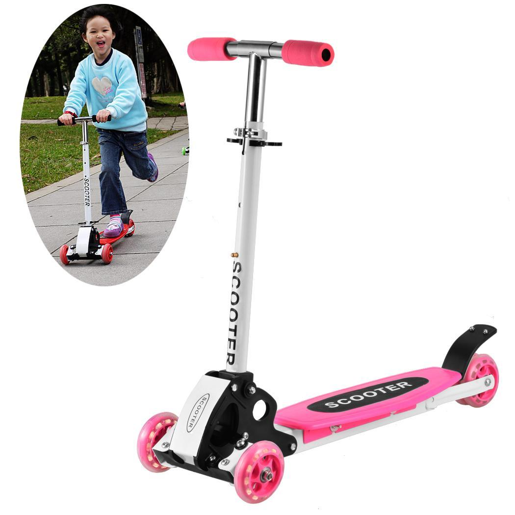 Valentine's Day Gift ! 3 Wheels Kick Scooter Micro Mini Foldable Adjustable T-Bar Kick Push Toy Scooter for Toddlers and Girls BLK