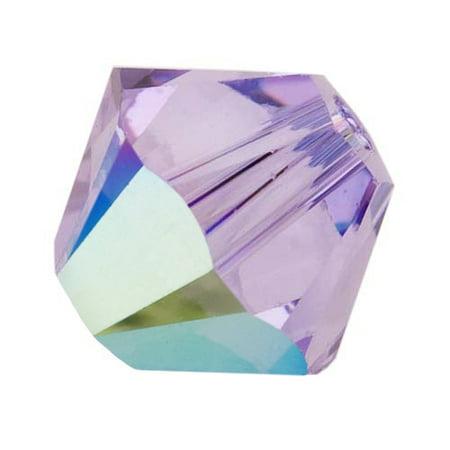 Swarovski Crystal, #5328 Bicone Beads 4mm, 24 Pieces, Violet AB