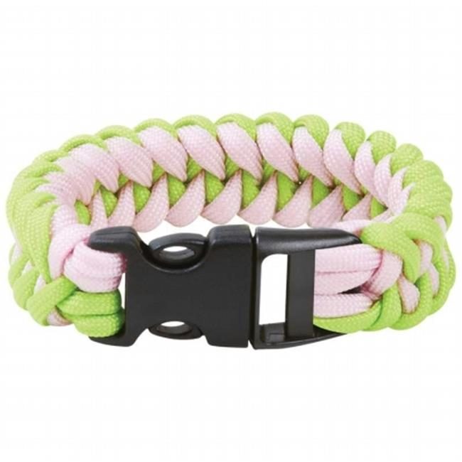 Maxam 8 inch Fluorescent Green And Pink Paracord Bracelet