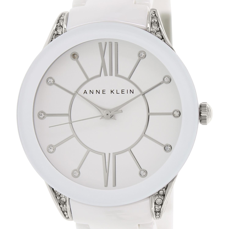 Anne Klein 1673WTSV Women's White Dial White Ceramic Brac...