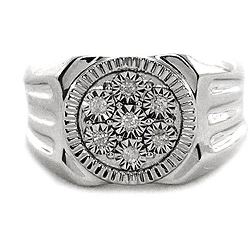 Men's White Diamond Accent Circle Sterling Silver Ring