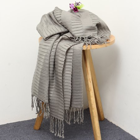 Moaere Throw Blanket Textured Solid Soft Sofa Couch Decorative Knitted Blanket Fringe Waffle Pattern 51