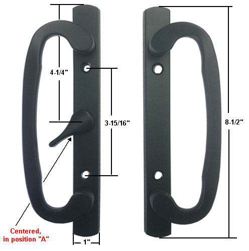 "Sliding Glass Patio Door Handle Set, Mortise Type, A-Position, Centered Latch Lever, Non-Keyed, Black, 3-15/16"" Screw Holes"