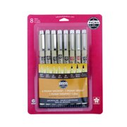 Sakura Pigma Micron, Brush & Graphic Pens, Archival Sepia Ink, 8 Pack
