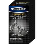 Sheffield 3-Piece Multi-Tool Knife Set with Sheath, Black