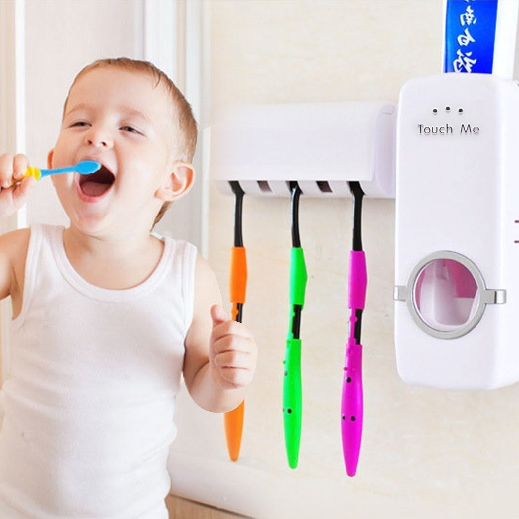 Wall Toothpaste Dispenser, Automatic Toothpaste Dispenser, Touchless Toothpaste Dispenser+ 5 Toothbrush Holder Set Wall Mount Stand