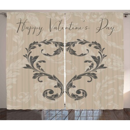 Taupe Curtains 2 Panels Set, Happy Valentine's Day Stylized Hand Writing Laurel Leaves Forming a Heart Victorian, Window Drapes for Living Room Bedroom, 108W X 84L Inches, Taupe Tan, by Ambesonne (Laurel Leaf)