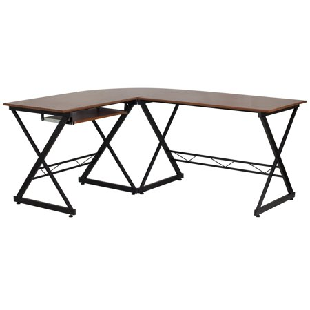 Flash Furniture Teakwood Laminate L-Shape Computer Desk with Pull-Out Keyboard Tray ()