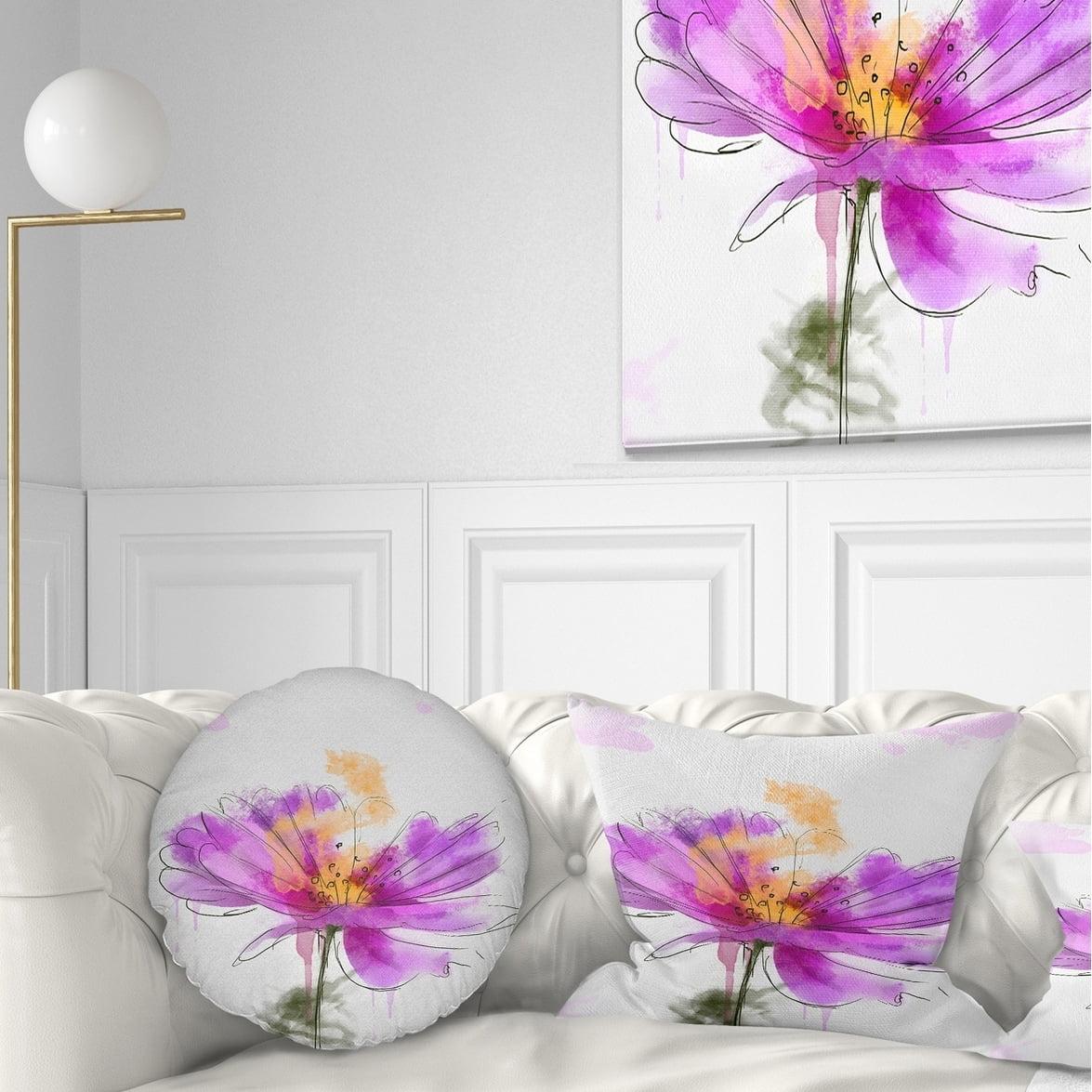 DESIGN ART Designart 'Purple Flower Watercolor Illustration' Flowers Throw Pillowwork
